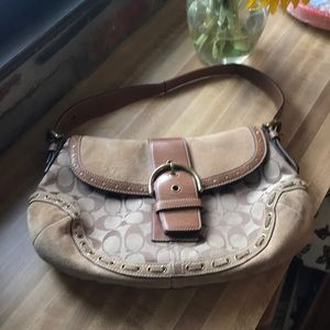 Coach bag tan suede and coach print